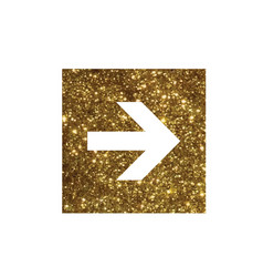 glitter golden isolated arrow flat icon vector image