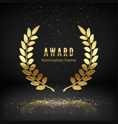 gold award emblem with falling confetti laurel vector image