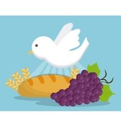 grapes dove bread wheat ear icon graphic vector image