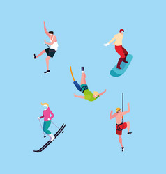 Group people practicing sports extreme vector