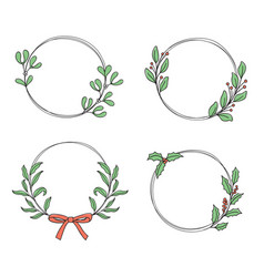 hand drawn leaves and twigs wreaths set vector image