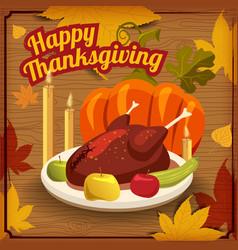 Happy thanksgiving card festive dinner turkey vector