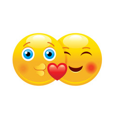 heart emoji couple icon 3d face smile for love vector image