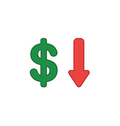 Icon concept of dollar with arrow moving down vector