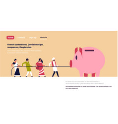 Indian people team pulling rope piggy bank money vector