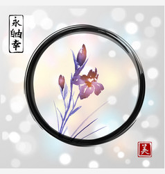 iris flowers hand drawn with ink in asian style in vector image