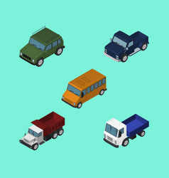 isometric car set of armored lorry suv and other vector image