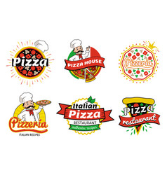 Italian pizza restaurant logos vector