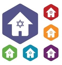 Jewish house hexagon icon set vector
