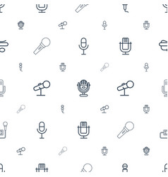 Karaoke icons pattern seamless white background vector