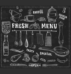 Kitchen tools food ingredients with captions vector