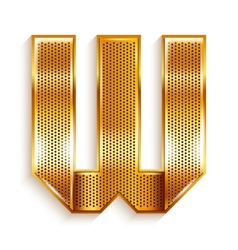 Letter metal gold ribbon - W vector image