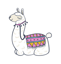 llama cartoon icon trendy colorful drawing vector image