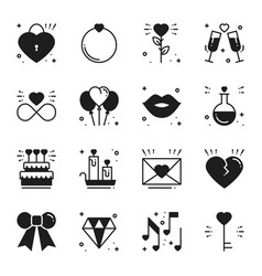 love line icons set happy valentine day vector image