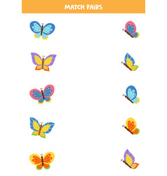 Match pairs cute flying butterflies vector