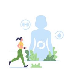 Metabolism concept sportswoman character run vector