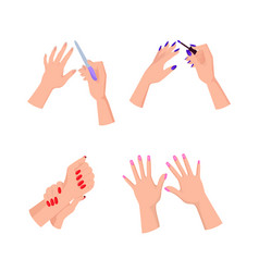 Nail art hands and polish vector
