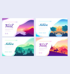 nature brochure cards set ecology template vector image