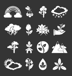 nature icons set grey vector image