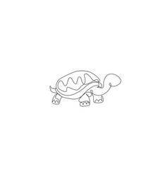 One continuous line drawing big cute tortoise vector