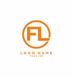 orange fl initial letter logo vector image