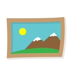 Painting mountains and sun vector