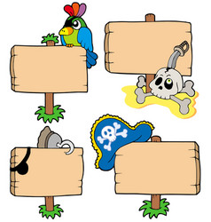 pirate wooden signs collection vector image