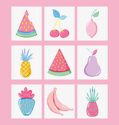 Punchy pastels fruits collection vector
