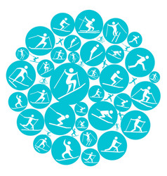 round winter sport game symbol vector image