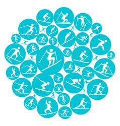 Round winter sport game symbol vector