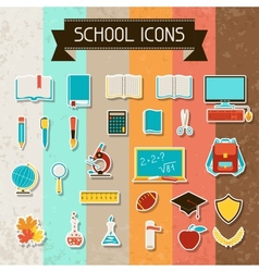 School and education sticker icons set vector