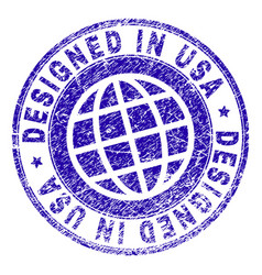 scratched textured designed in usa stamp seal vector image