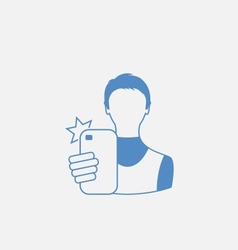 Selfie Guy on Smartphone vector image