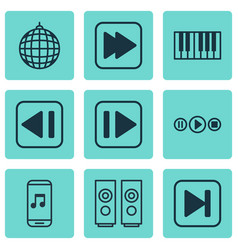Set of 9 audio icons includes sound box song ui vector