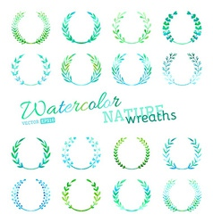 Set of watercolour nature wreaths vector