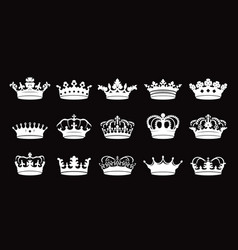 set white crowns icon on black background vector image
