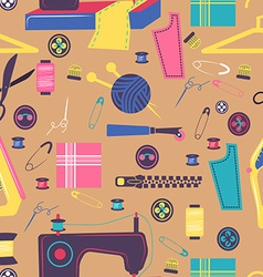 Sewing related elements Seamless color pattern vector image