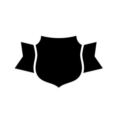 shield black icon outline shield simple ribbon vector image