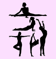 silhouette woman doing pilates vector image