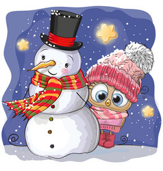 Snowman and cute cartoon owl girl vector