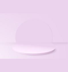 Soft pink geometric podium with minimal design 3d vector