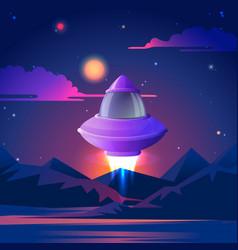 spaceship starting to flz in night stars vector image