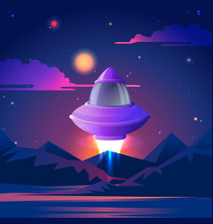 spaceship starting to flz in the night stars vector image