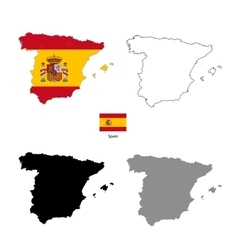spain country black silhouette and with flag vector image