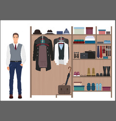 Stylish man and man s wardrobe Men vector