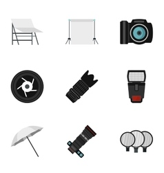 Taking photo icons set flat style vector