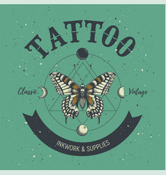Tattoo parlor poster classic and vintage tattoo vector