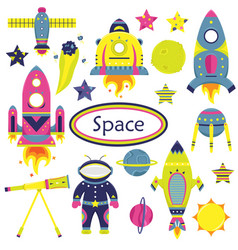 the cartoon set with flat spaceships planets vector image
