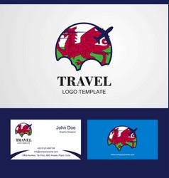Travel wales flag logo and visiting card design vector