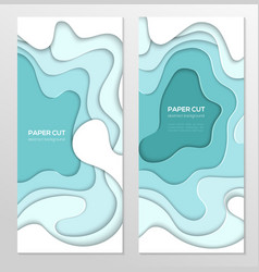 turquois abstract banner - set of template vector image